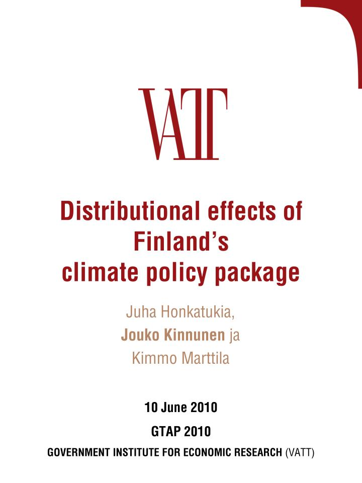 distributional effects of finland s climate policy package n.