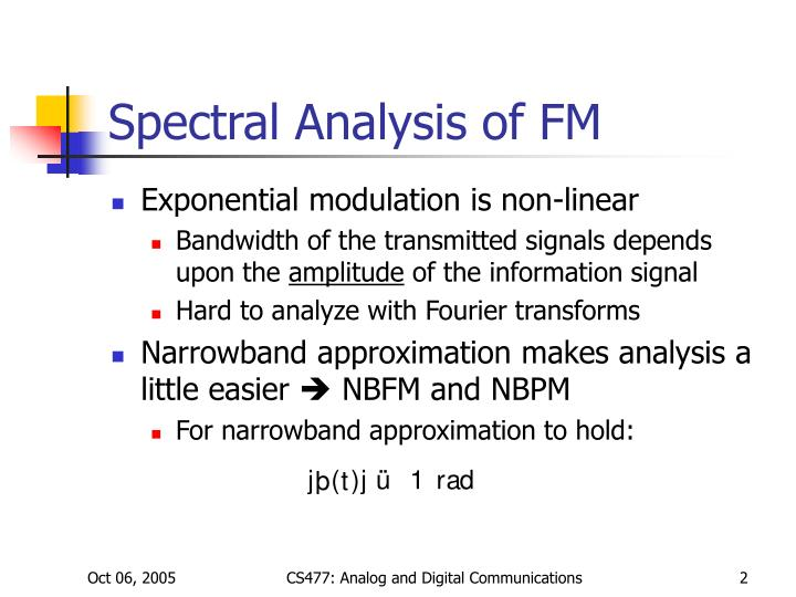 Spectral analysis of fm