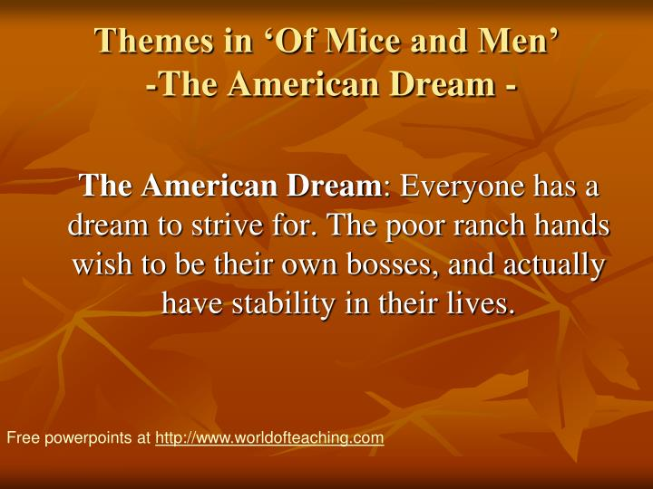 themes in of mice and men the american dream n.