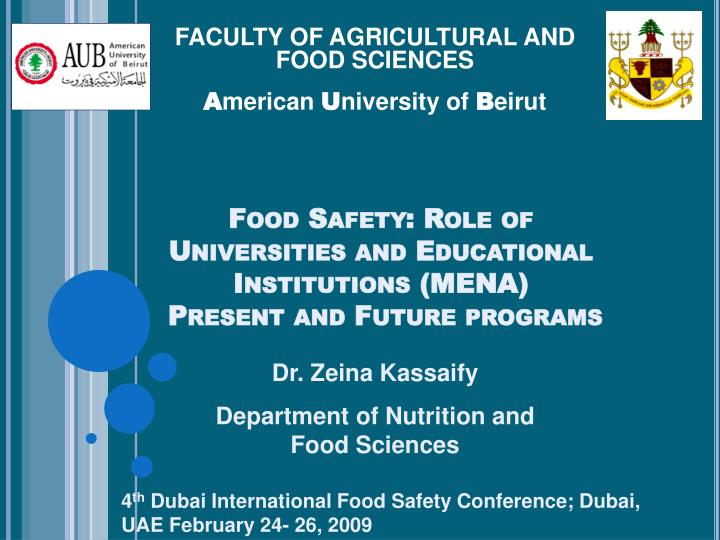 Food safety role of universities and educational institutions mena present and future programs