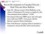 recent developments in canadian telecom draft telecom abuse bulletin
