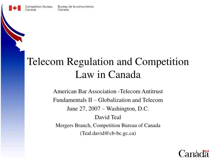 telecom regulation and competition law in canada n.