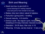 birth and weaning