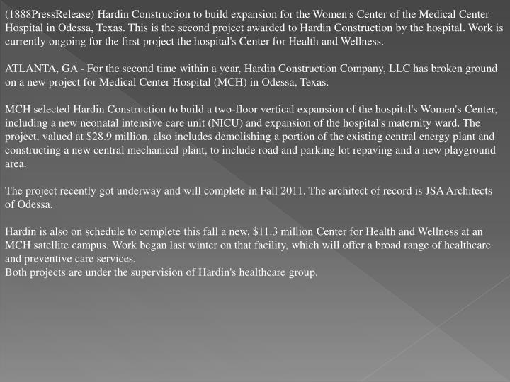 (1888PressRelease) Hardin Construction to build expansion for the Women's Center of the Medical Cent...