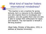 what kind of teacher fosters international mindedness