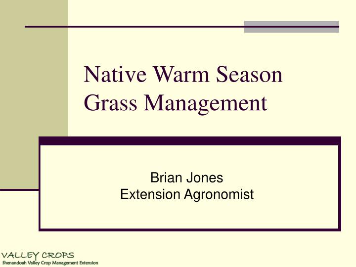 Native warm season grass management