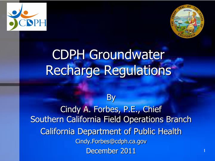 cdph groundwater recharge regulations n.