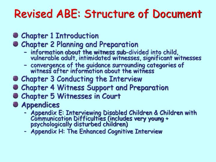 Revised ABE: Structure of Document