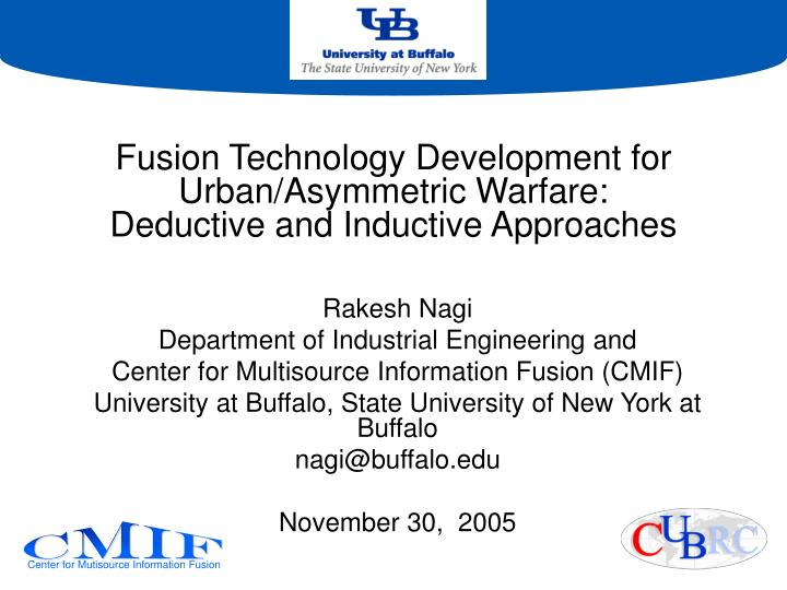 fusion technology development for urban asymmetric warfare deductive and inductive approaches n.