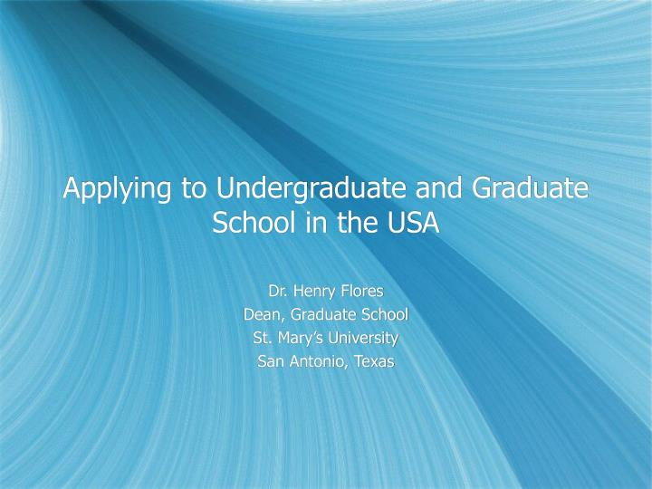 applying to undergraduate and graduate school in the usa n.
