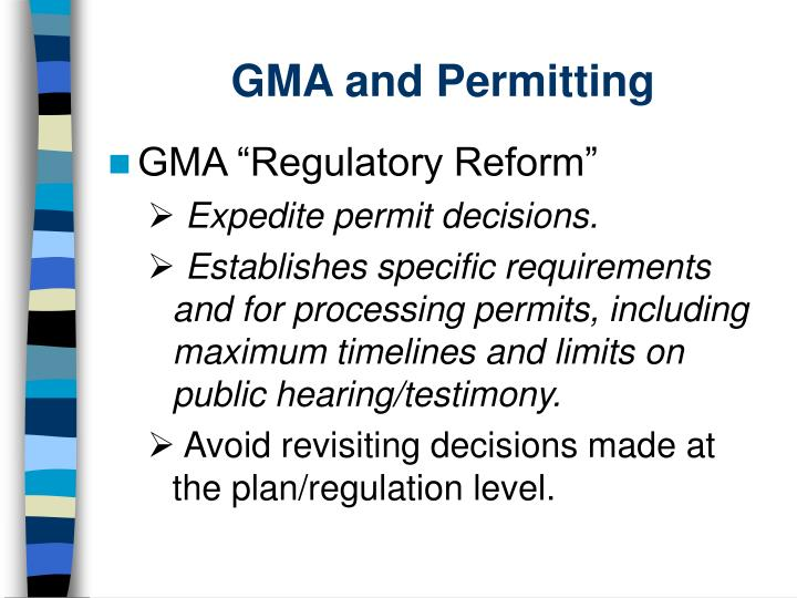 GMA and Permitting