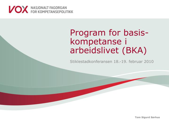 program for basis kompetanse i arbeidslivet bka n.
