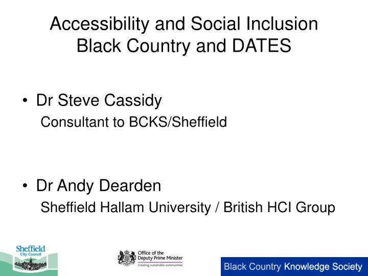 accessibility and social inclusion black country and dates n.