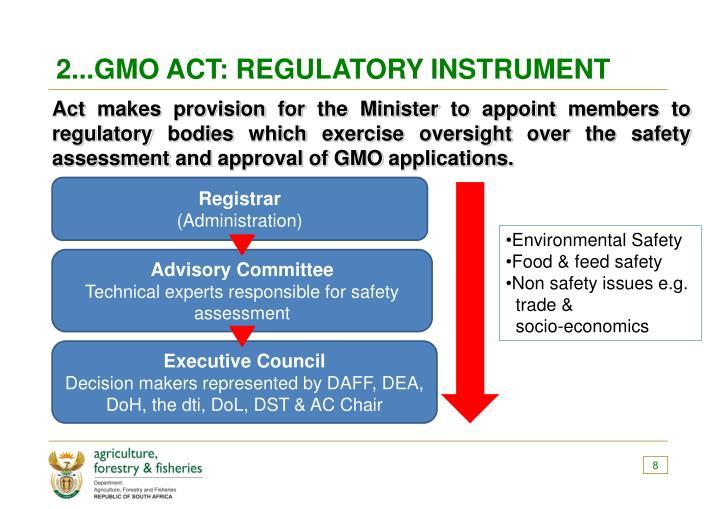 2...GMO ACT: REGULATORY INSTRUMENT