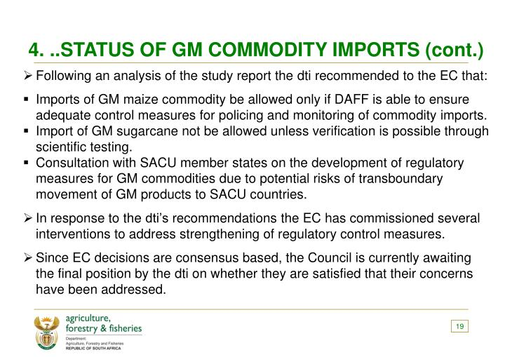 4. ..STATUS OF GM COMMODITY IMPORTS (cont.)