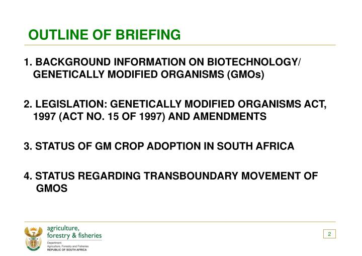 Outline of briefing