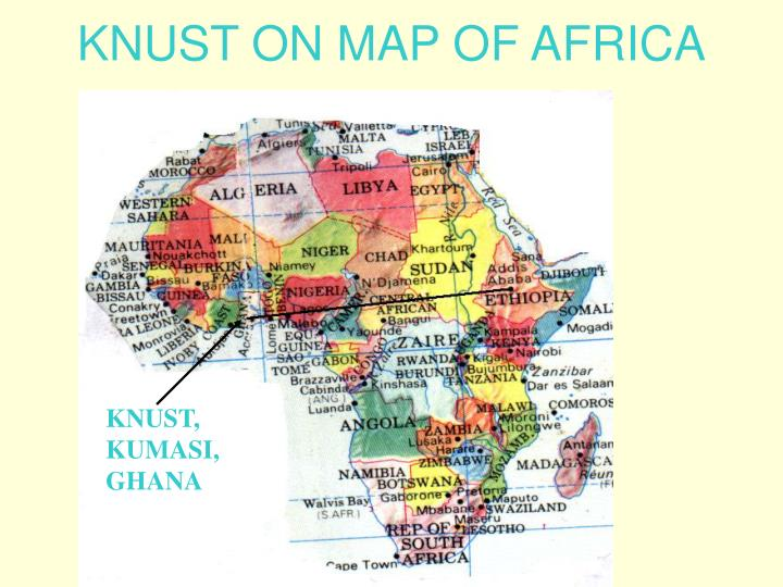 Knust on map of africa