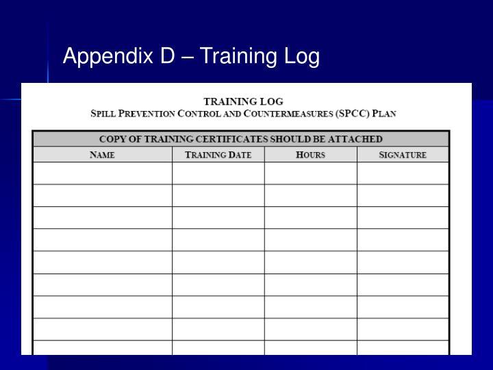 Appendix D – Training Log