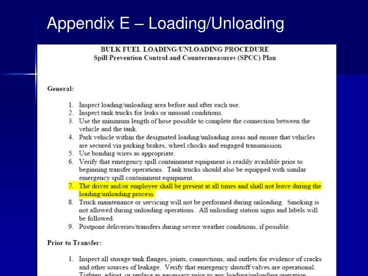 Appendix E – Loading/Unloading