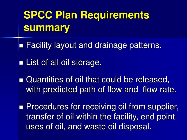 SPCC Plan Requirements summary
