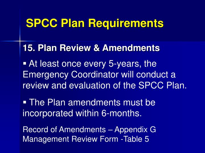 SPCC Plan Requirements