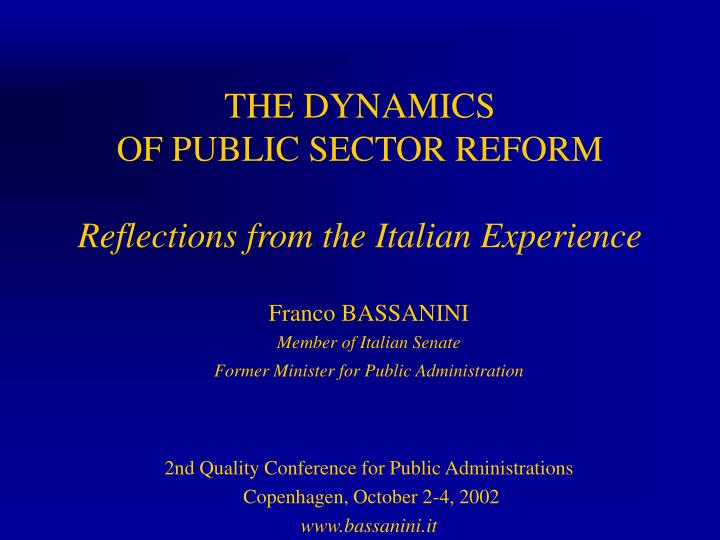 the dynamics of public sector reform reflections from the italian experience n.