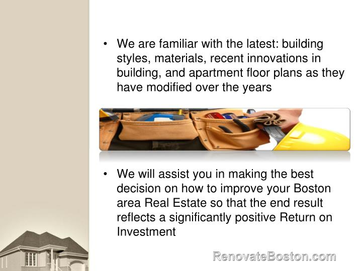 We are familiar with the latest: building styles, materials, recent innovations in building, and apa...