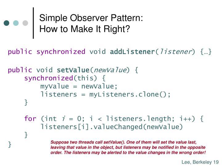 Simple Observer Pattern: