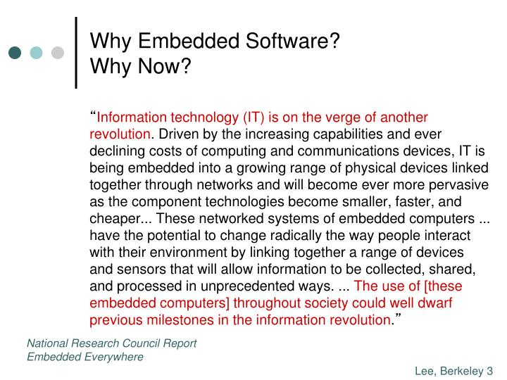Why embedded software why now