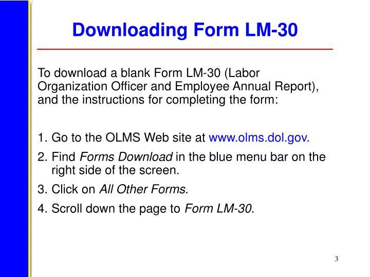 Downloading form lm 30