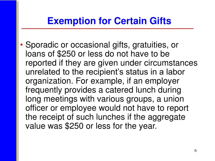 Exemption for Certain Gifts