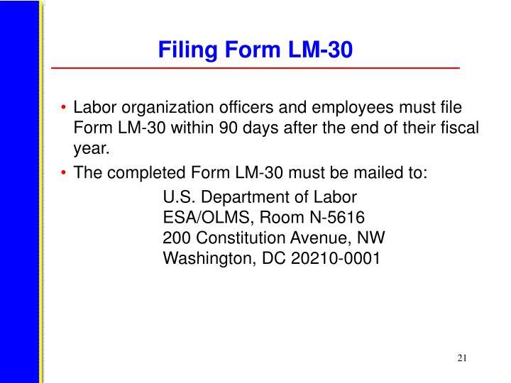 Filing Form LM-30