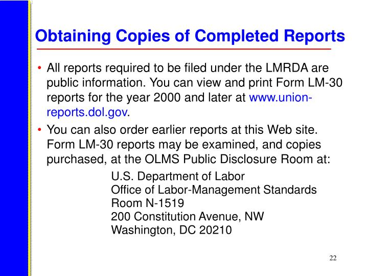 Obtaining Copies of Completed Reports