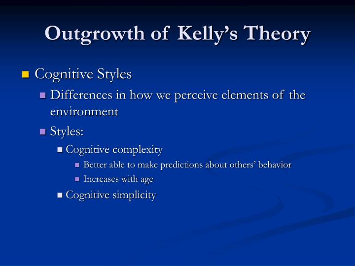 Outgrowth of Kelly's Theory