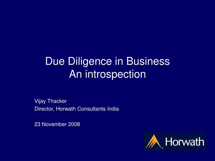 due diligence in business an introspection n.
