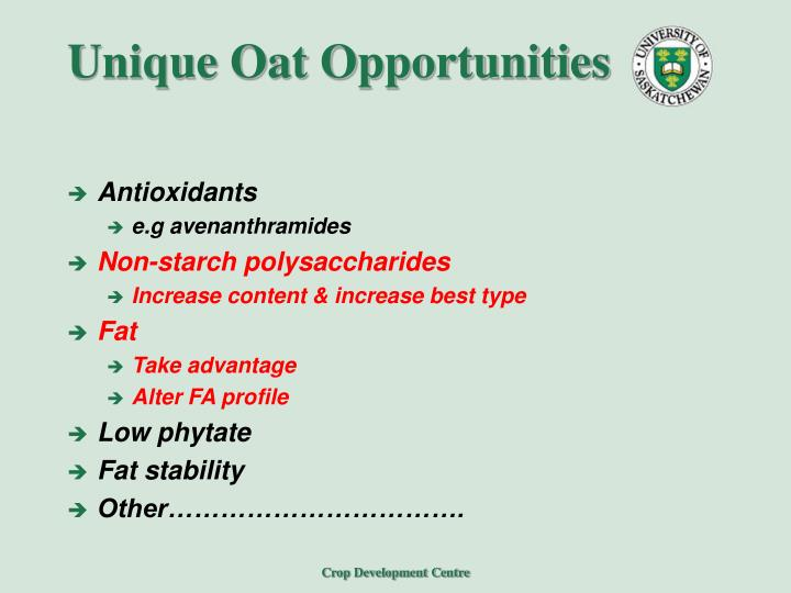 Unique Oat Opportunities