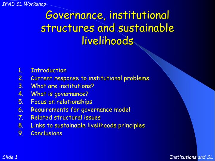 governance institutional structures and sustainable livelihoods n.
