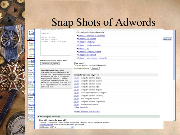 Snap Shots of Adwords