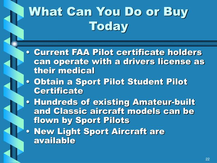 What Can You Do or Buy Today