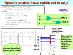 signals vs variables cont variable used for out 3
