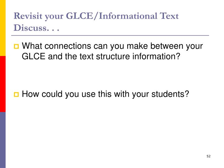 Revisit your GLCE/Informational Text