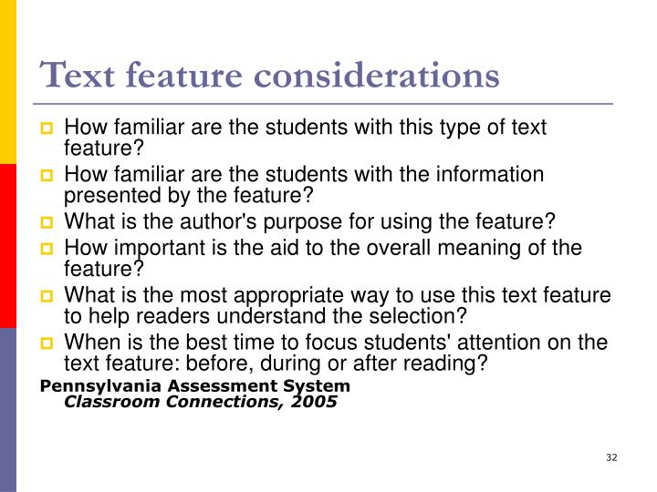 Text feature considerations