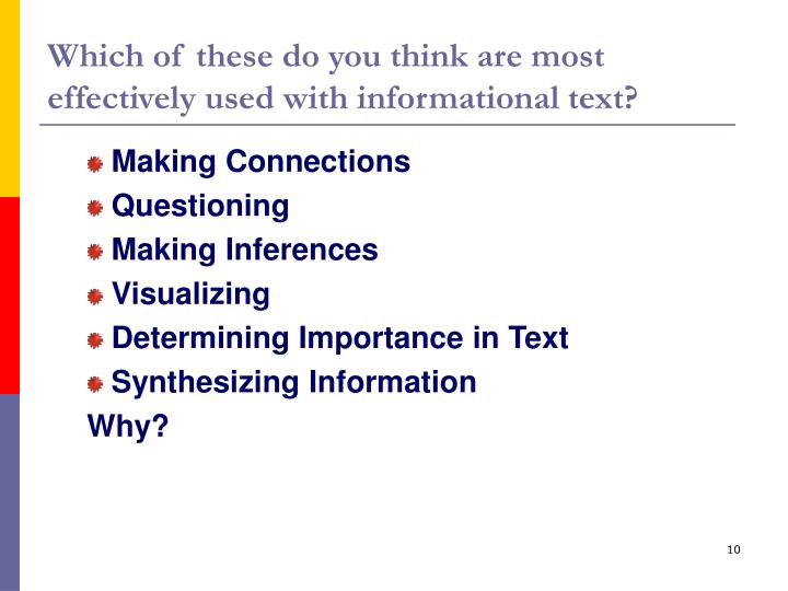 Which of these do you think are most effectively used with informational text?