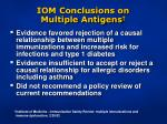 iom conclusions on multiple antigens