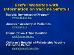 useful websites with information on vaccine safety i