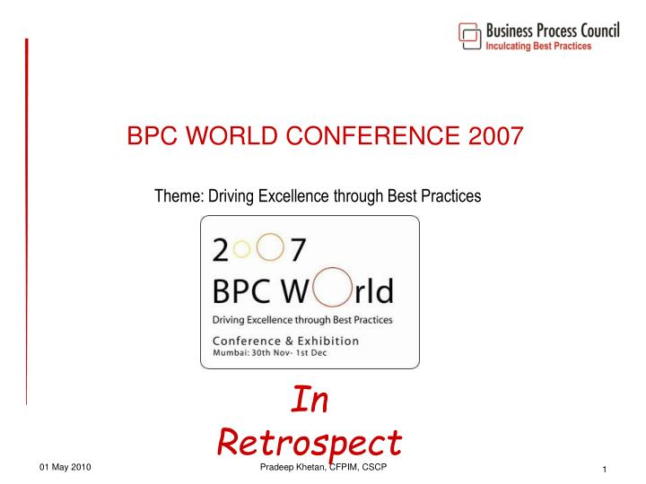 bpc world conference 2007 n.