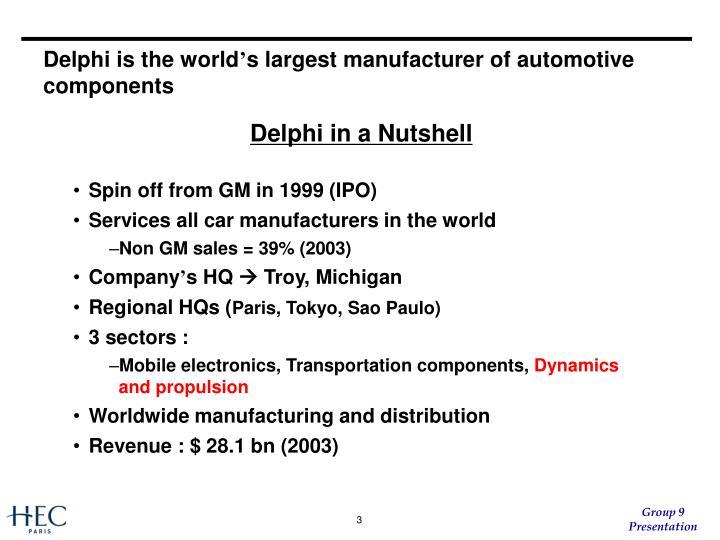 Delphi is the world s largest manufacturer of automotive components
