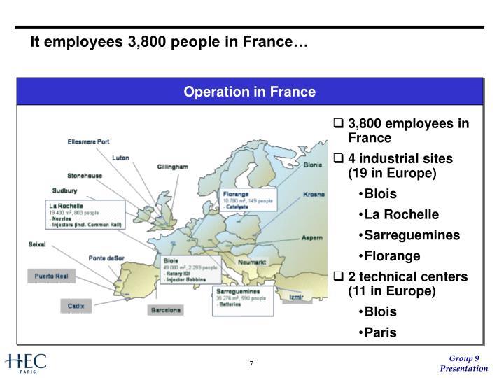 It employees 3,800 people in France…