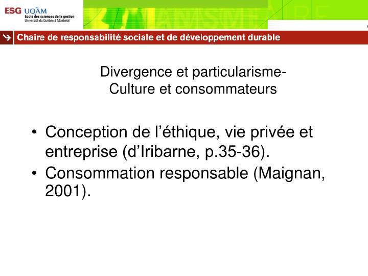 Divergence et particularisme-