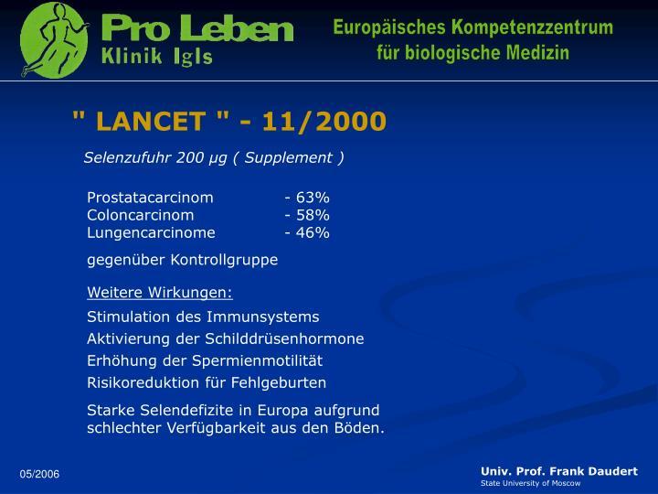 """"""" LANCET """" - 11/2000"""